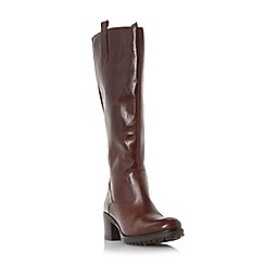 Dune - Dark brown 'Tyne' back zip tab detail knee high boot