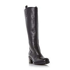 Dune - Black-leather 'Tyne' back zip tab detail knee high boot