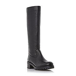 Dune - Black cleated sole knee high leather boot