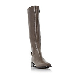 Dune - Grey 'Vinny' side zip buckle detail riding boot