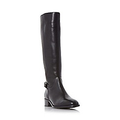 Dune - Black 'Vinny' side zip buckle detail riding boot