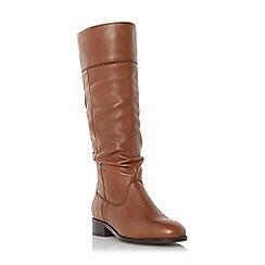 Dune - Tan 'Tymone' pull on slouched leather knee high boot
