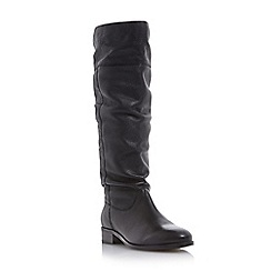 Dune - Black 'Tymone' pull on slouched leather knee high boot