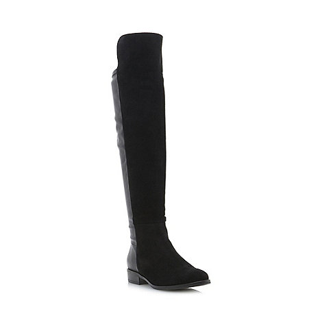 Dune - Black +trish+ mix material over the knee boots