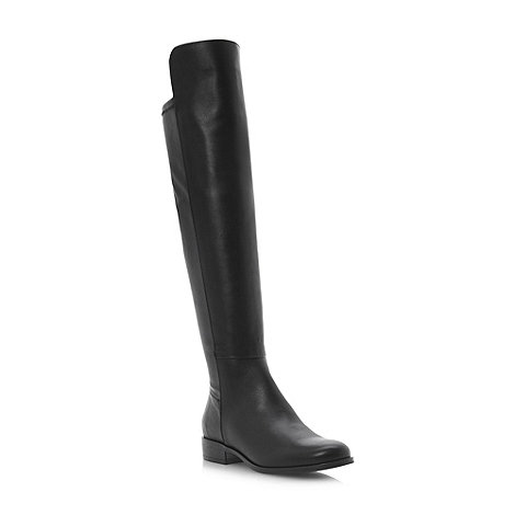 Dune - Black mix material over the knee boots