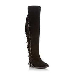 Dune - Black 'Trish rodeo' fringed over the knee boot