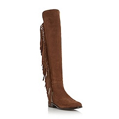 Dune - Tan 'Trish rodeo' fringed over the knee boot