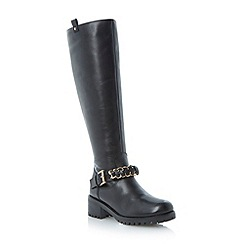 Dune - Black chain detail leather cleated sole knee high boot