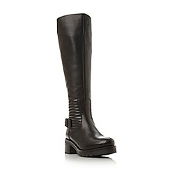 Dune - Black 'Vienna' quilted leather knee high boot