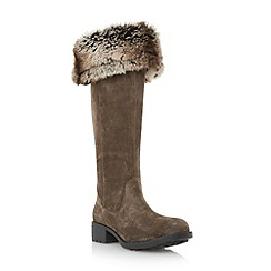 Dune - Grey faux fur lined knee high suede boot