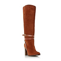 Dune - Dark orange 'Sheena' ankle strap detail knee high boot