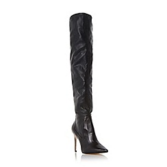 Dune - Black 'Soula' pull on heeled knee high boot