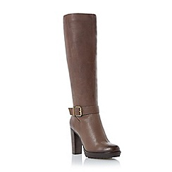 Dune - Taupe 'Sami' high heel leather knee high boot
