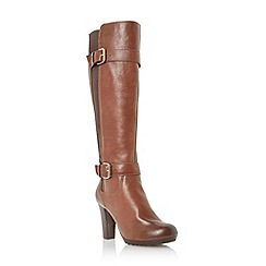 Dune - Tan cleated platform sole leather knee high boot