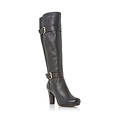 Dune - Black cleated platform sole leather knee high boot