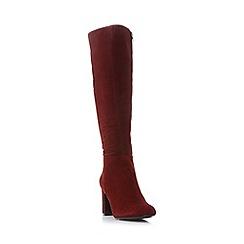 Dune - Maroon 'Sandler' round toe knee high boot