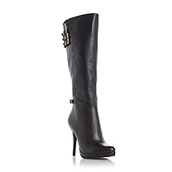 Dune - Black 'Snitchee' high heel leather knee high boot