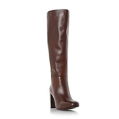 Dune - Brown 'Siena' block heel leather knee high boot