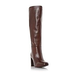 Dune - Brown 'Siena' block heel leather knee high boot