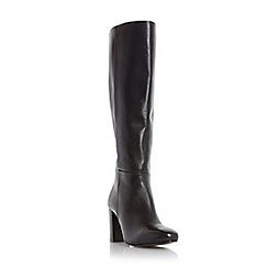 Dune - Black 'Siena' block heel leather knee high boot