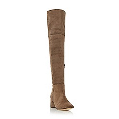 Dune - Dark grey 'Samba' suede over the knee block heeled boot