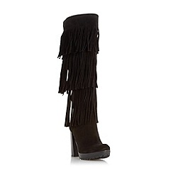Dune - Black 'Stetson' fringe detail knee high boot