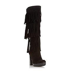 Dune - Black 'Stetson' fringe detail knee high boot