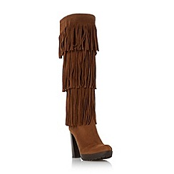 Dune - Tan 'Stetson' fringe detail knee high boot