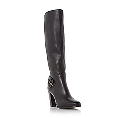Dune - Black 'Sydney' side buckle knee high heeled boot