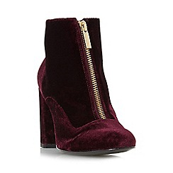 Dune - Maroon 'Oldwych' front zip heeled ankle boot