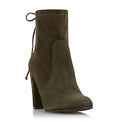 Dune - Khaki 'Orchid' round toe block heel ankle boot