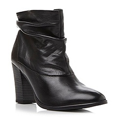 Dune - Black slouchy stacked heel leather ankle boot