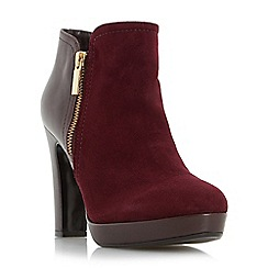 Dune - Dark Red 'Oscar' side zip mixed material ankle boot