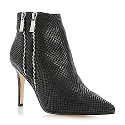 Dune - Black double zip heeled leather ankle boot