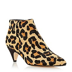 Dune - Leopard pointed toe kitten  heel ankle boot