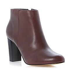 Dune - Burgundy leather block heel dressy ankle boot