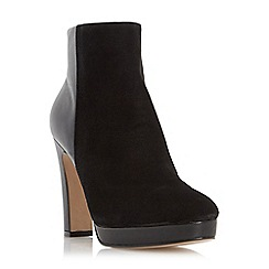 Dune - Black 'Olympe' leather & suede mix material heeled ankle boot