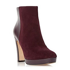 Dune - Dark red 'Olympe' leather & suede mix material heeled ankle boot