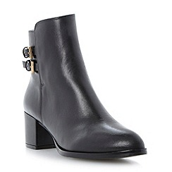 Dune - Black pointed toe block heel ankle boot