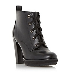 Dune - Black 'Onslow' stacked high heel lace up ankle boot