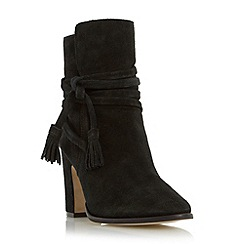 Dune - Black 'Onyx' wrap around tassel ankle boot