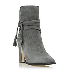 Dune - Grey 'Onyx' wrap around tassel ankle boot