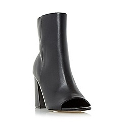 Dune - Black 'Octavia' block heel peep toe ankle boot