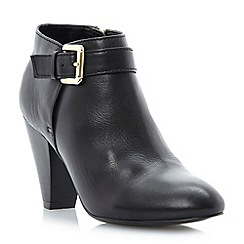 Dune - Black leather 'nash' buckle detail heeled ankle boots
