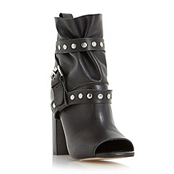 Dune - Black 'Olenna' studded peep toe leather ankle boot