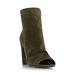 Dune - Khaki 'Odelle' peep toe ankle boot