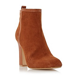 Dune - Dark orange 'Oke' high heel leather trim ankle boot