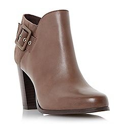 Dune - Taupe 'Oaklee' side buckle block heel ankle boot