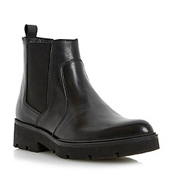 Dune - Black leather pointed toe cleated sole chelsea boot