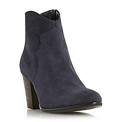 Dune - Navy 'Priscila' heeled western boot